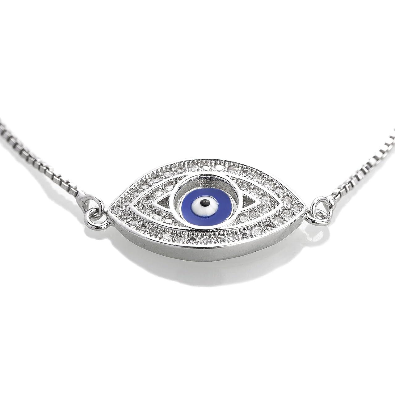 Moon Dust Sterling Silver Plated American Diamond Evil Eye Charm Strand Bracelet For Girls, Teens & Women (MD_3031)