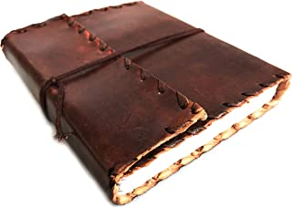 LEATHER JOURNAL Writing Notebook - Antique Handmade Leather Bound Daily Notepad For Men & Women Unlined Paper Medium 9 x 7 Inches