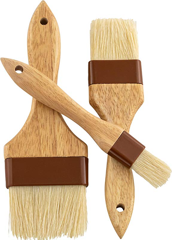 Restaurant Grade Boar Hair Pastry And Basting Brush Set Of 3 1 2 And 3 Inch Ultra Fine Hardwood Flat Brushes For Spreading Butter Egg Wash Or Marinade To Pastries Dessert Bread Dough Or Meat