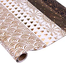 RUSPEPA Gift Wrapping Paper Sheet - Gold Foil Pattern Black White Wrapping Paper for Wedding, Birthdays, Valentines, Christmas - 5 Sheet -17.5x30 inch Per Sheet
