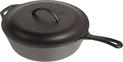 Lodge Pre-Seasoned Cast Deep Skillet with Iron Cover and Assist Handle, 5 Quart, Black
