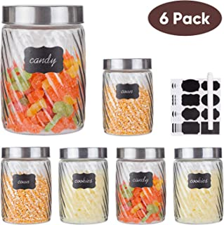Glass Kitchen Storage Canister Jars Set Glass Mason jars with Stainless Steel Lids and 8 Labels & 1 Chalk Marker For The Kitchen,Set of 6,27 oz(Diagonal Stripes)