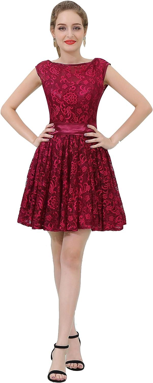 Lavaring Women's Scoop Applique Sequins Tulle Short Aline Bridesmaid Dress