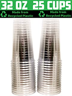 [25 Pack - 32 oz.] Earth - Friendly Eco Crystal Clear R - PET Recycled Plastic Cups [Cups Only, Lids Sold Separately]