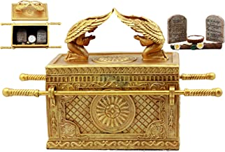 Ebros Matte Gold Ark of The Covenant with Ten Commandments Rod of Aaron and Manna Religious Decorative Figurine Trinket Jewelry Box 9.5