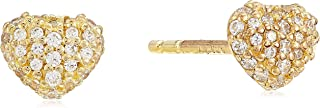 Michael Kors Women Cubic Zirconia Love 14Ct Gold Plated Pave Heart Earring