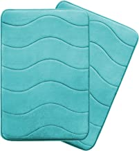 Ultra Soft Floor Mats Tufted Bath Rug Non-Slip Backing Microfiber Door Mat Soft Non Slip Absorbent Bath Rugs, Memory Foam Bath Mats Two Pack by FlamingoP Green Waved Pattern, Size:W17 xL24