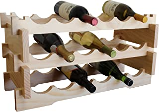 Rush Creek Creations Solid Pine 18 Bottle Wine Rack - No Tool Assembly - Handcrafted New Zealand Solid Pine