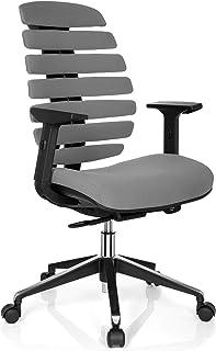 ofiprix | Silla Spine | Silla de Oficina Ergonómica | Silla Escritorio | Respaldo ergonómico | Espuma Inyectada | Brazos Ajustables | Alta Gama | Tejido Gris