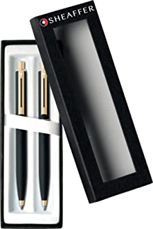 E9931351-30 Sheaffer 100 Brushed Chrome Cap Ballpoint /& 0.7mm Pencil Set Nickel Trim Glossy Black Barrel