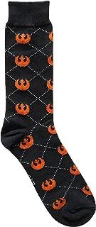 Star Wars Rebel Argyle Black/Orange Men's Crew Socks Shoe Size 6-12