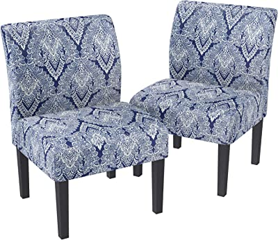 Amazon Com Mecor Modern Armless Accent Chairs Set Of 2 Upholstered Fabric Dining Chairs W Solid Wood Legs For Dining Living Room Sofa Sapphire Chairs