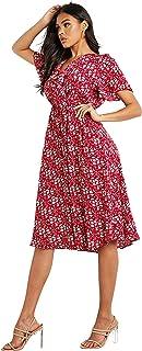 فستان متوسط الطول بقبة V وتصميم مكشكش مطبع بالورود للنساء