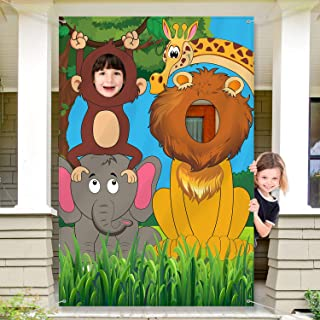 Jungle Animals Decorations Birthday Party Prop, Large Fabric Jungle Backdrop Photo Door Banner Background, Funny Jungle An...