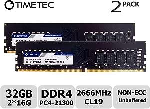 Timetec Hynix IC 32GB Kit (2x16GB) DDR4 2666MHz PC4-21300 Unbuffered Non-ECC 1.2V CL19 2Rx8 Dual Rank 288 Pin UDIMM Desktop Memory RAM Module Upgrade (32GB Kit (2x16GB))