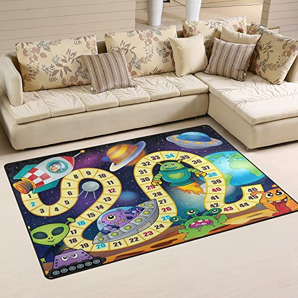 My Little Nest Kids Children Outer Space Alien And Planets Board Game Play Area Rug Baby Boys Girls Non Slip Soft Educational Fun Carpets For Bedroom Classroom Nursery 3 3 X 5