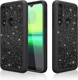 D DESSVON Moto G8 Play Case, Moto One Macro Case Glitter Black for Girl Women, Slim Full-Body Cover 2 in 1 Hybrid Hard PC & Soft TPU Shockproof Protective Case for Motorola Moto G8 Play/Moto One Macro