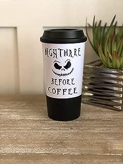 Nightmare Before Christmas Inspired Glitter Dipped Travel Mug, Coffee Mug, Nightmare Before Coffee, Funny Travel Mug, Coffee Tumbler