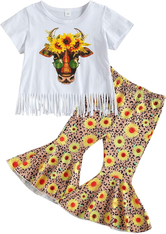 Toddler Girl Pants Set 1-6T Little Kids Short Sleeve Tassel T-Shirt Tops Sunflower Flared Pants Summer Outfits
