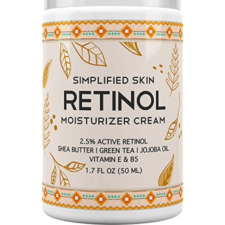 Retinol Moisturizer Cream 2.5% for Face & Eye Area with Vitamin E & Hyaluronic Acid for Anti Aging, Wrinkles & Acne - Best Night & Day Facial Cream by Simplified Skin 1.7 oz