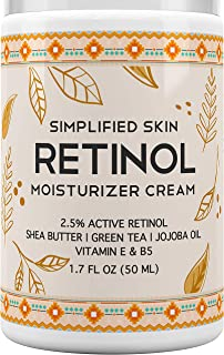 Retinol Moisturizer Cream for Face & Eye Area with Vitamin E & Hyaluronic Acid for Anti Aging, Wrinkles & Acne - Best Night & Day Cream by Simplified Skin 1.7 oz