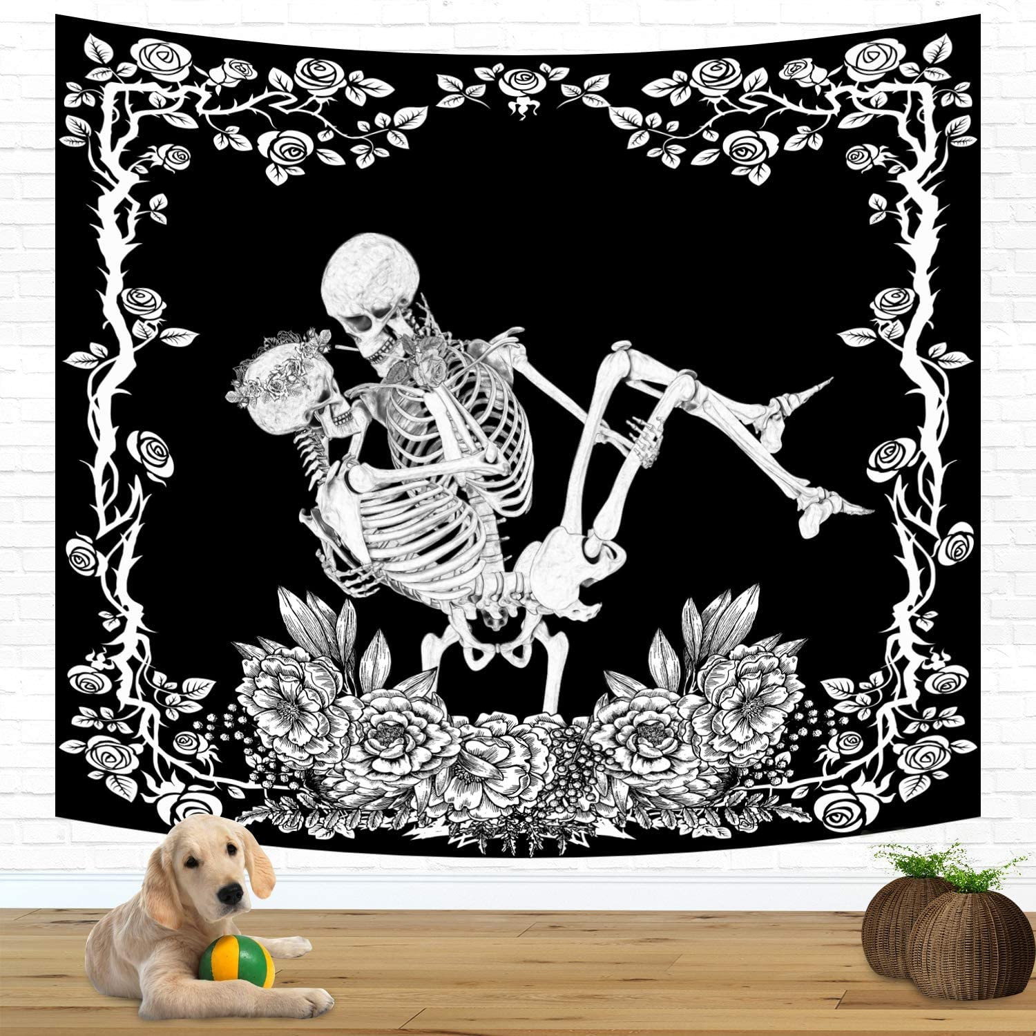 FEPITO Skull Tapestry Kissing El Paso Mall Funny Skeleton Limited time sale Lovers Tap