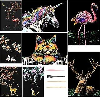 Cartes a Gratter Animaux pour Adultes, Peinture à Rayures en Aluminium, Gravure Sur Papier à Gratter Couleur avec Stylo et...