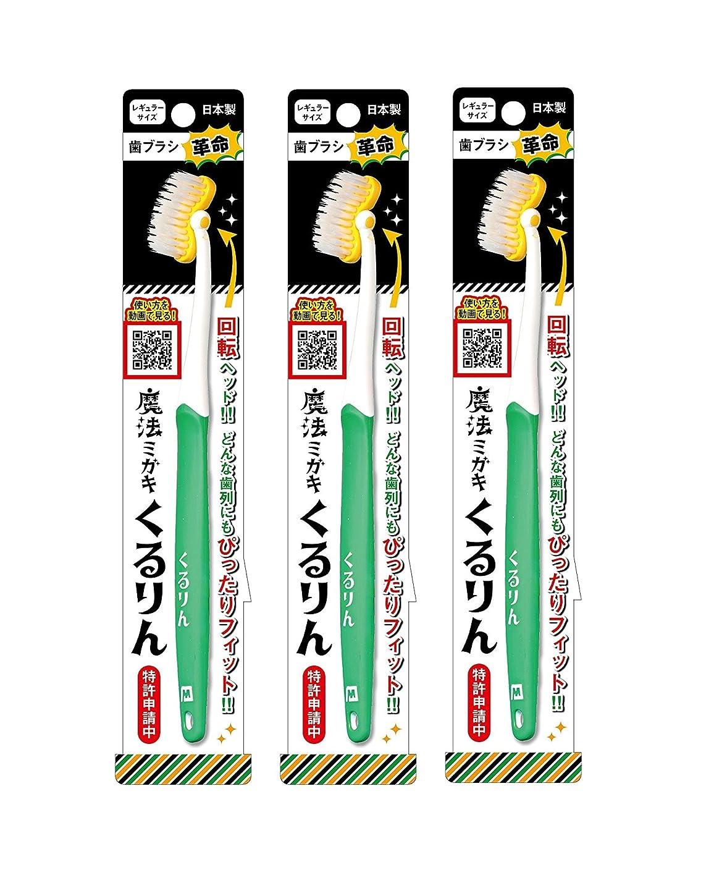 キノコ分解する擬人歯ブラシ革命 魔法ミガキくるりん MM-151 グリーン 3本セット