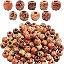 BoNaYuanDa 50pcs Large Hole Beads Wooden Round Beads Barrel Wooden Beads for Jewelry Making Bracelet Loose Spacer Charms