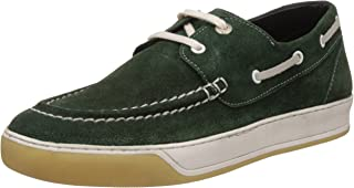 Alberto Torresi Men's Dark Green Leather Boat Shoes