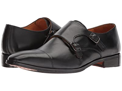CARLOS by Carlos Santana Passion Double Monk Strap (Black Full Grain Calfskin Leather) Men