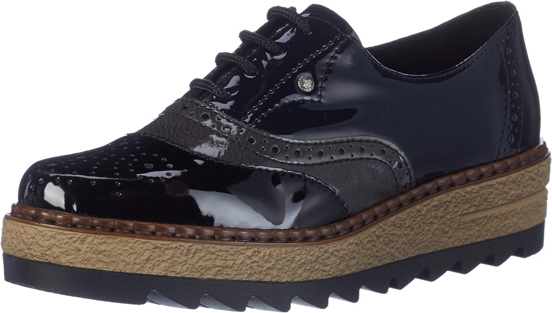 Rieker Women Lace-Up shoes black, (black fumo marine) 55818-02