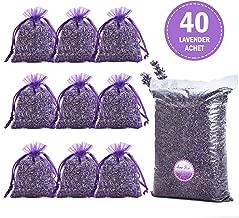 June Fox Fragrant Lavender Buds Dried Lavender Sachets Drawers Freshener Home Fragrance, 1 Pound & 40 Sachet Bags