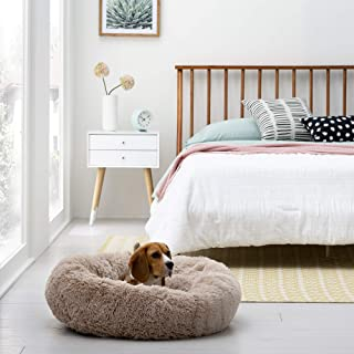 Brindle Donut Cuddler Pet Bed - Plush Dog and Cat Bed - Cozy Shag Faux Fur - Ergonomic Design - Head and Neck Support