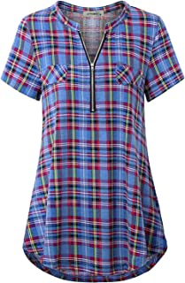 JCZHWQU Women's Zip Up V Neck Short Sleeve Casual Tunic Shirt