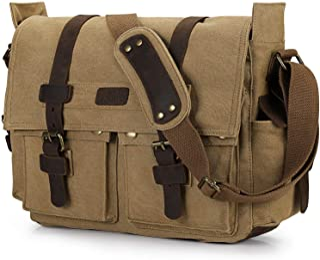 S-ZONE Vintage Canvas Leder Trim Abnehmbare Schulter Messenger Tasche Kameratasche f¨¹r DSLR SLR-Kamera