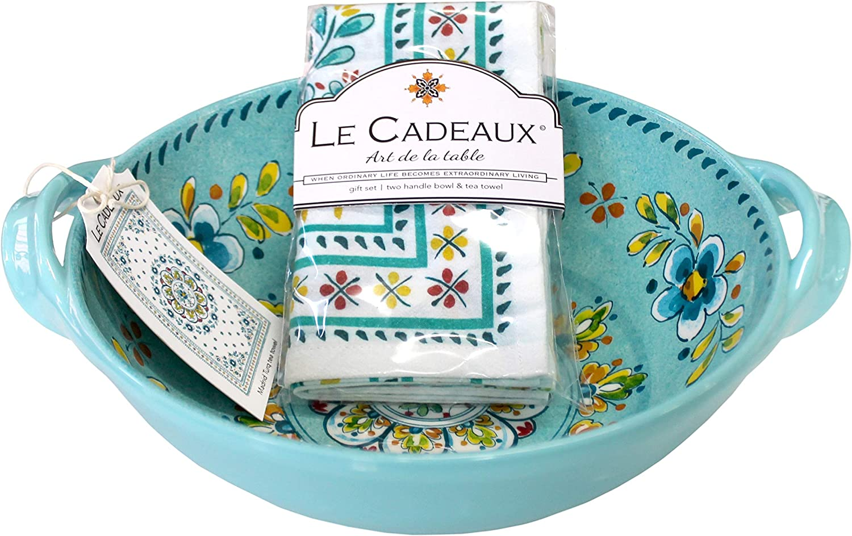 Le Cadeaux Madrid Turquoise Melamine 9.25  Salad Bowl with Handles and Tea Towel Set