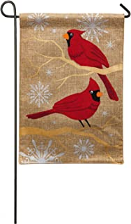 Evergreen Flag Burlap Feathers and Snow Garden Flag, 12.5 x 18 inches