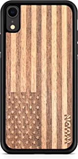 Wooden Phone Case (American Flag in Mahogany) Compatible with iPhone Xr, iPhone 10r