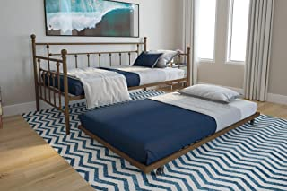 DHP Manila Twin Metal Daybed Frame and Twin Size Trundle, Gold