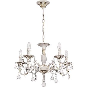 MW Light Lustre Suspension Classique à 5 Lumières en Métal couleur Blanche Dorée avec Lampes en Forme de Bougies orné de Pampilles en Cristal pour