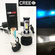 Mega Racer (2 Color in 1 Set) H4 9003 HB2 10000K Blue 6000K White (High/Low Beam) CREE COB LED Xenon Kit 8000 LM 80W USA Motorcycle