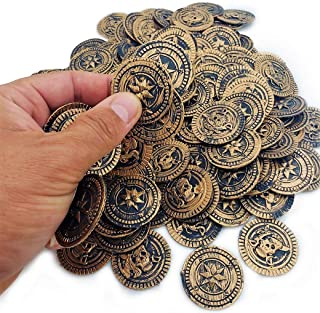 Cool Bronze Rustic Pirate Gold Coins (144 Pieces) Treasure Coins for Kids. 3D Design. Antique Look. Plastic. Large - 1 3/...