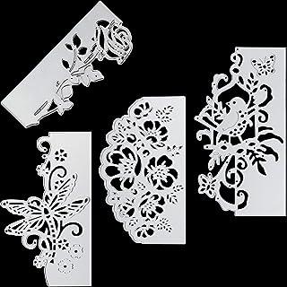 4 peças de metal corta flores cortando matrizes metal estêncil modelo de renda pássaro borboleta molde para artesanato DIY...