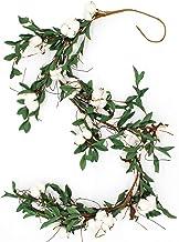 CVHOMEDECO. Rustic Cotton Pod Leaves Pip Berries Garland Farmhouse Home Décor