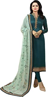 Ethnic Yard Women's crepe straight Salwar Suit Set (SSEY-F1282_ Blue_ Free Size)