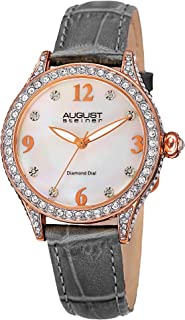 August Steiner Womens Quartz Watch, Analog Display and Leather Strap AS8188GY