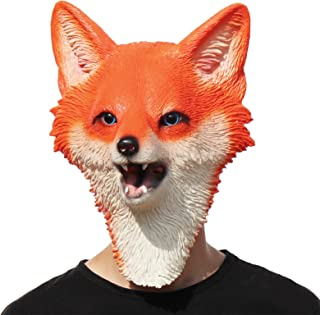 PartyCostume - Fox Mask - Halloween Latex Animal Head Mask