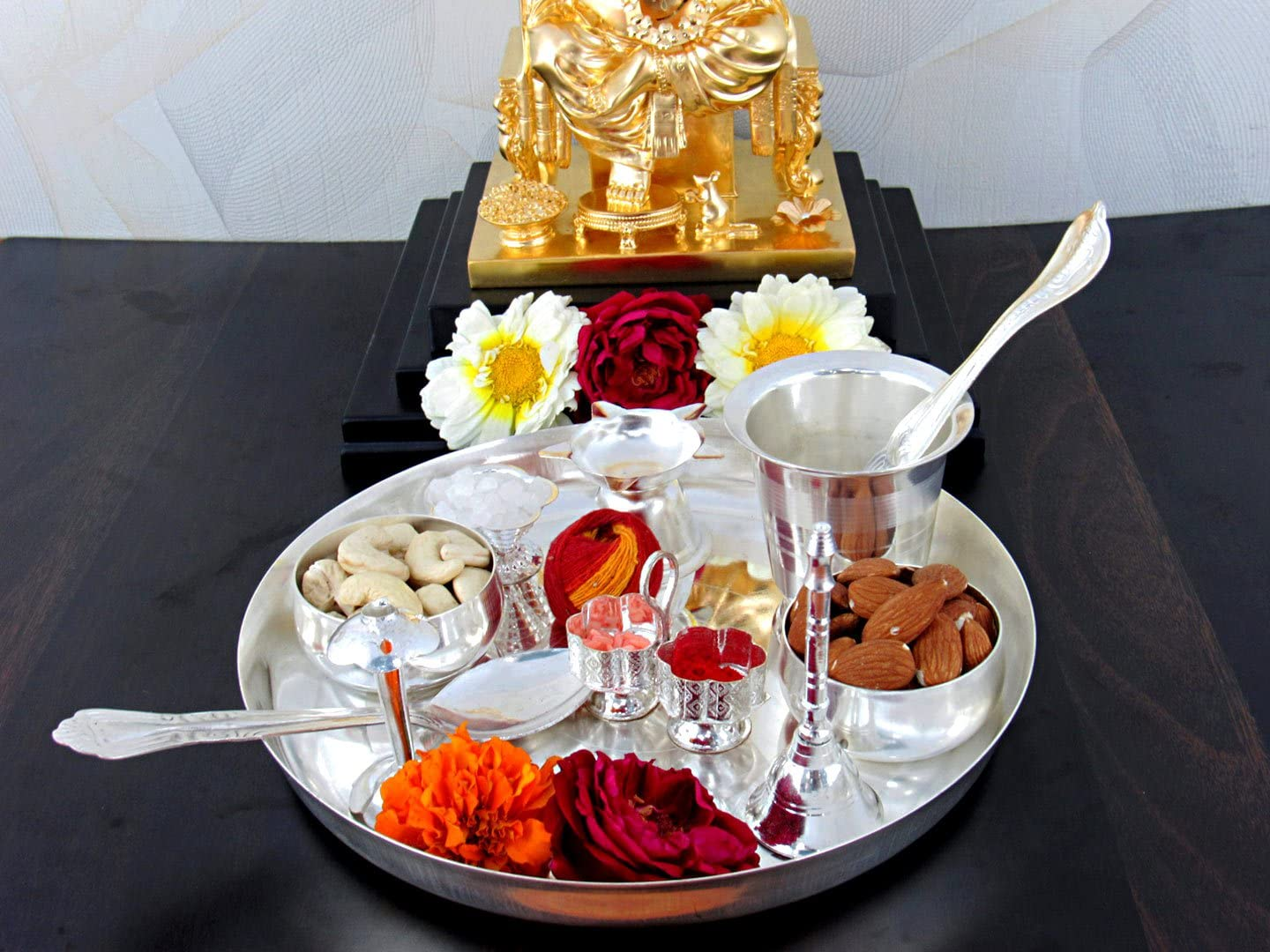GoldGiftIdeas 8 Inch Mangalmay Silver Pooja Luxury goods Indian Thali Plated Genuine Free Shipping