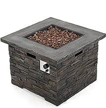Christopher Knight Home 300715 Stonecrest Outdoor Propane Gas Fire Pit 40000BTU, Grey Stone